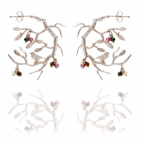 Silver bird in tree earrings