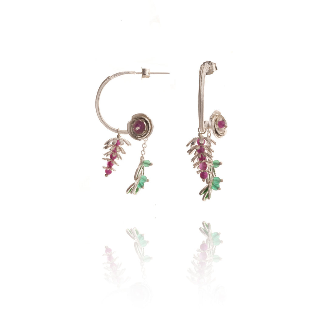 Rose and pinecone silver earrings