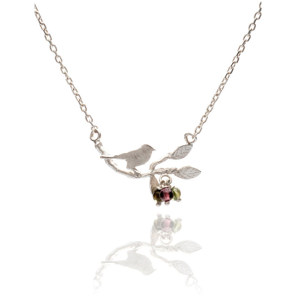 Tiny bird on a branch necklace