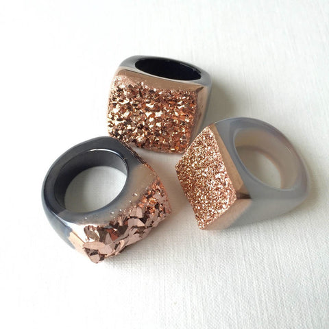 Rose gold metallic ring