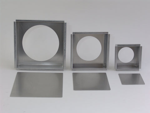 Square cheese cake pans which have flush fitted removable square bottoms.