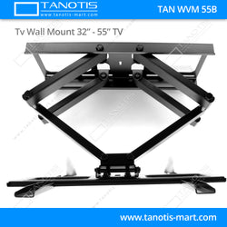 "Tanotis - Tanotis Imported Swivel Tilt Heavy Duty Dual Arm Full Motion TV Wall mount for LCD/LED Plasma TV's upto 32"" to 55"" inch for Flat Wall or Corner mounting with VESA upto 400 MM x 400 MM - 11"