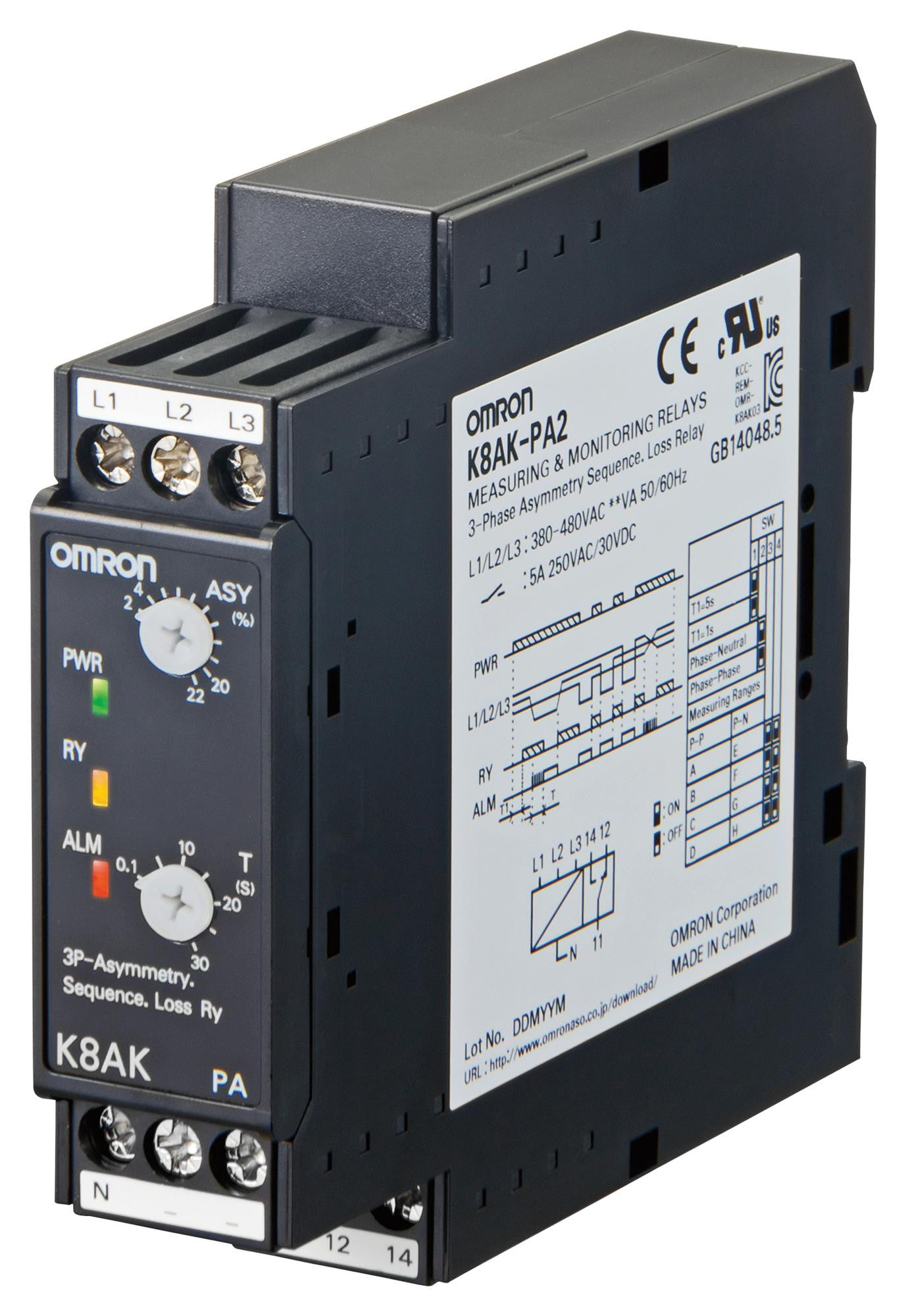 Dpdt Relay Din Rail Products Tagged Phase Monitoring Relays Tanotis Omron Industrial Automation K8akpa2 Voltage Asymmetry K8ak Series Spdt