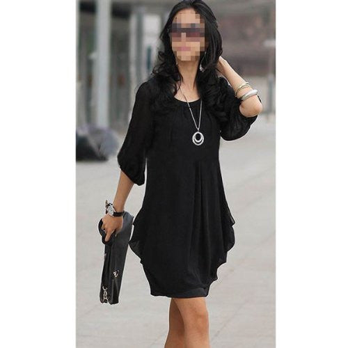Tanotis - NEEWER Chiffon Cocktail Women 3/4 Lantern Sleeve Mini Dress (Size L, Black)