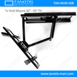 "Tanotis - Tanotis Imported Swivel Tilt Heavy Duty Dual Arm Full Motion TV Wall mount for LCD/LED Plasma TV's upto 32"" to 55"" inch for Flat Wall or Corner mounting with VESA upto 400 MM x 400 MM - 6"