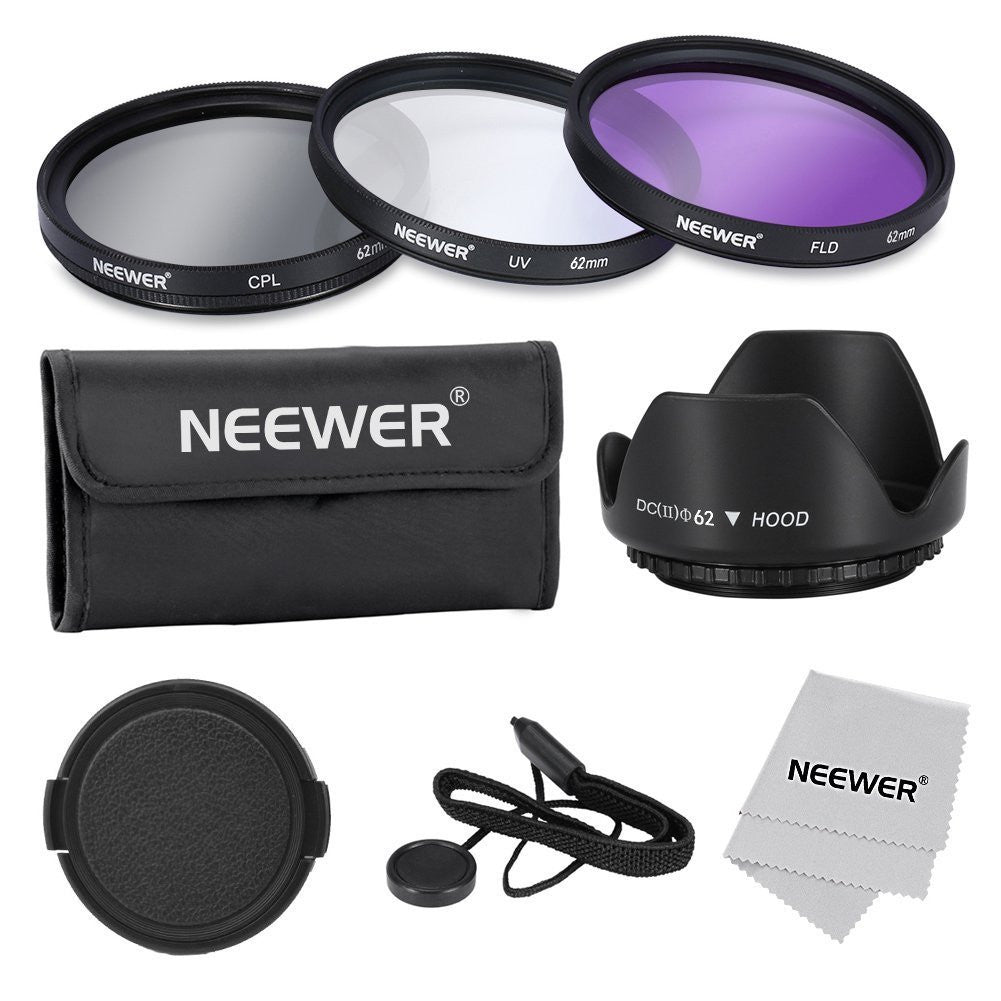 Tanotis - Neewer 62mm Professional Lens Filter Accessory Kit for Canon Nikon Sony Samsung Fujifilm Pentax and Other DSLR Camera Lenses with Filter Thread