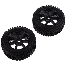 Tanotis - Neewer 2 PCS Black 73mm Soft Rubber Tyre Set 7 Spoke Wheel Rim for 1/10 RC On-Road Car Flat Run Car