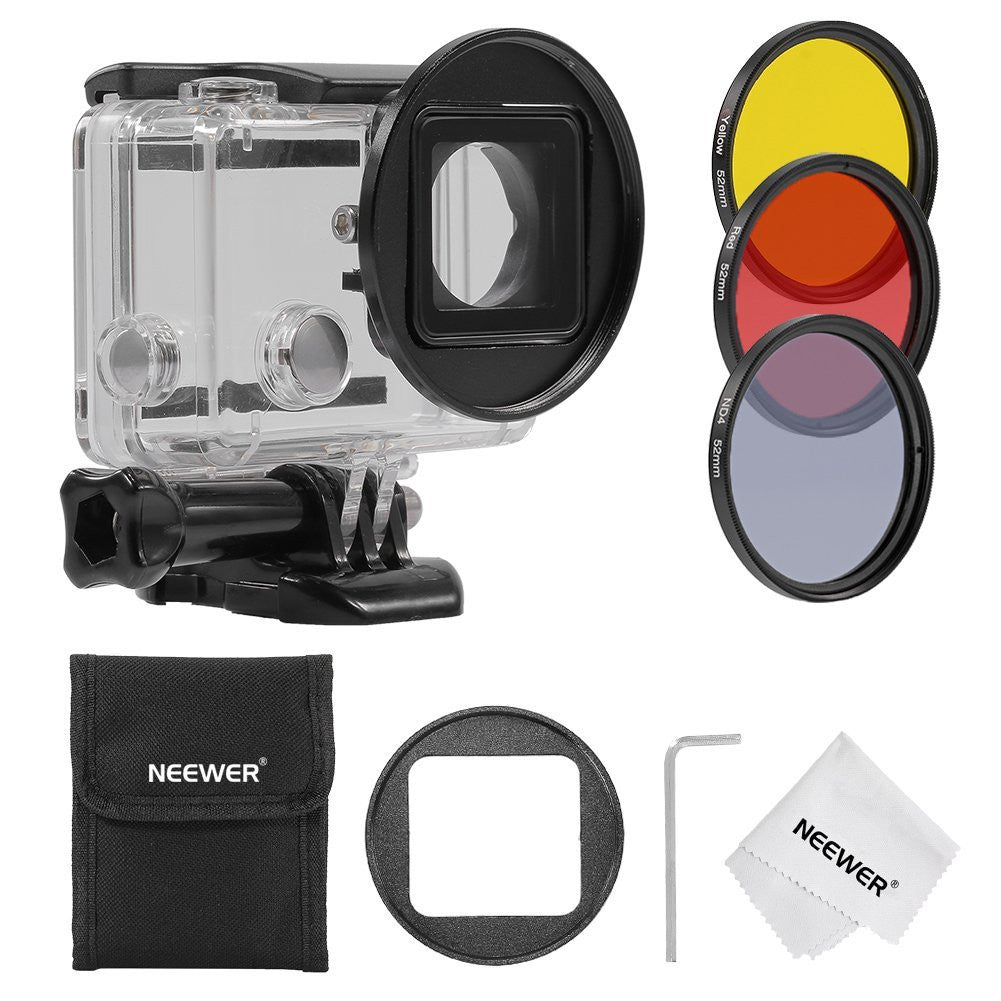 Tanotis - Neewer 52MM Filter Kit for Gopro Hero 3+/4,Kit includes: (3)Filters (ND4 + Yellow + Red) + (1)52mm Lens Filter Ring Adapter + (1)Microfiber Cleaning Cloth + (1)Filter Carrying Pouch