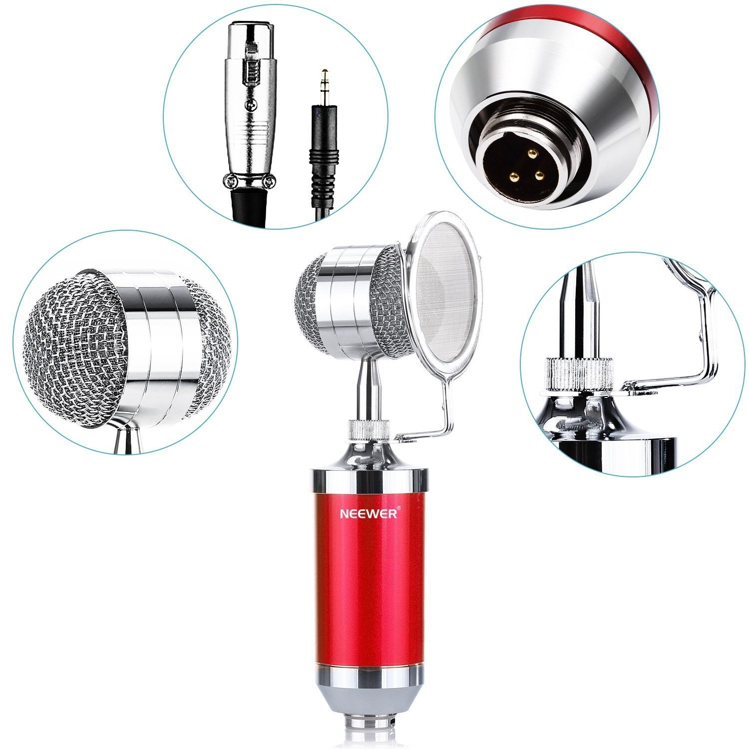 Tanotis - Neewer Cardioid Condenser Broadcasting & Recording Microphone Kit includes: (1)Condenser Microphone with Build-in Pop Filter+(1)Shock Mount +(1)3.5mm Male to XLR Female Microphone Cable(Red)