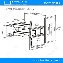 "Tanotis - Tanotis Imported Swivel Tilt Heavy Duty Dual Arm Full Motion TV Wall mount for LCD/LED Plasma TV's upto 32"" to 55"" inch for Flat Wall or Corner mounting with VESA upto 400 MM x 400 MM - 8"