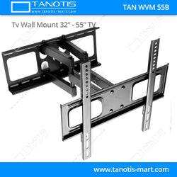 "Tanotis - Tanotis Imported Swivel Tilt Heavy Duty Dual Arm Full Motion TV Wall mount for LCD/LED Plasma TV's upto 32"" to 55"" inch for Flat Wall or Corner mounting with VESA upto 400 MM x 400 MM - 9"