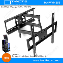 "Tanotis - Tanotis Imported Swivel Tilt Heavy Duty Dual Arm Full Motion TV Wall mount for LCD/LED Plasma TV's upto 32"" to 55"" inch for Flat Wall or Corner mounting with VESA upto 400 MM x 400 MM - 1"