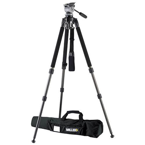 Miller 1643 Miller Solo DV Alloy Tripod (black) with DS-20 Fluid Head, Camera Plate, Pan Arm, and Soft Case- Supports up to 22 lb (10 kg)