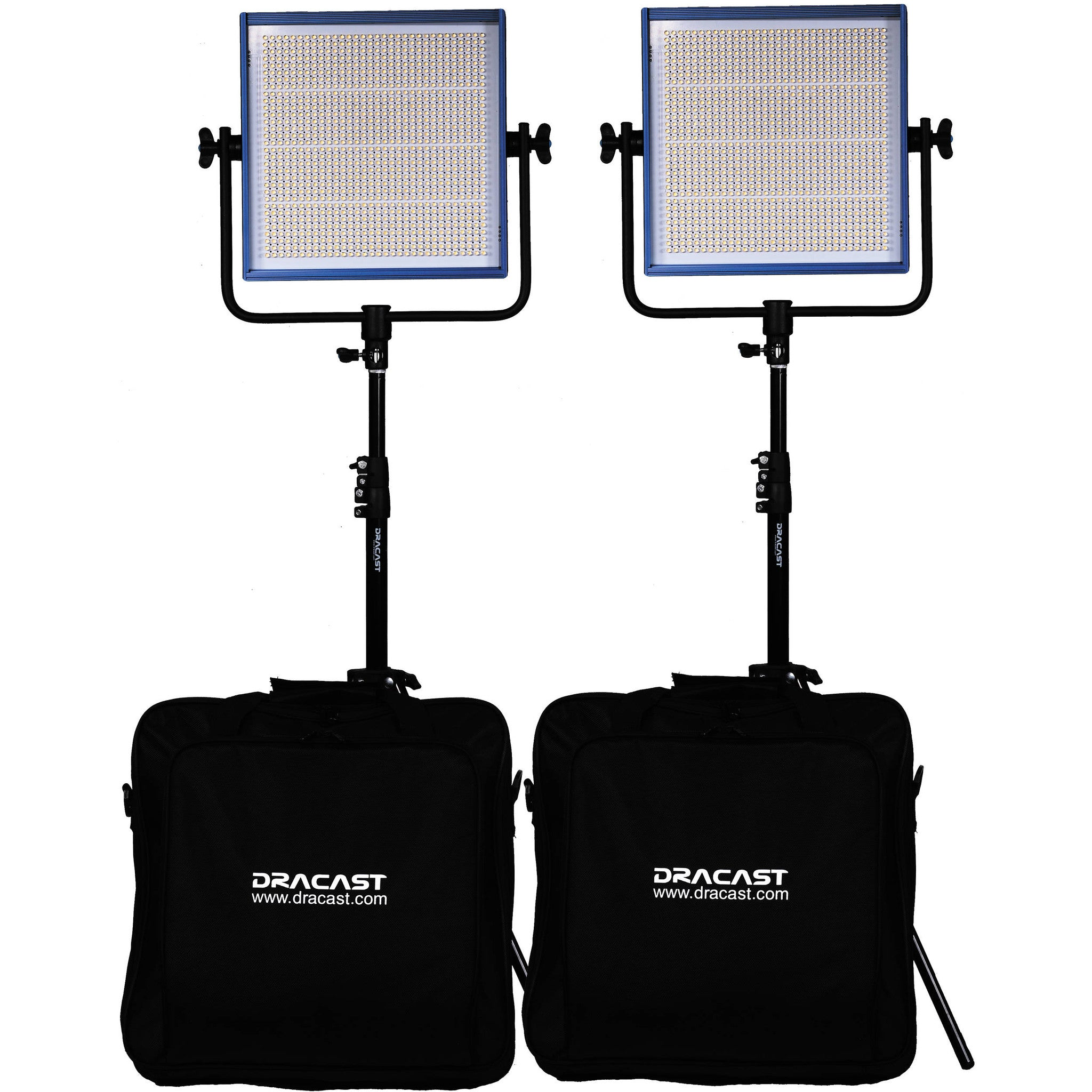 Dracast LED1000 Pro Daylight 2-Light Kit with V-Mount Battery Plates and Stands