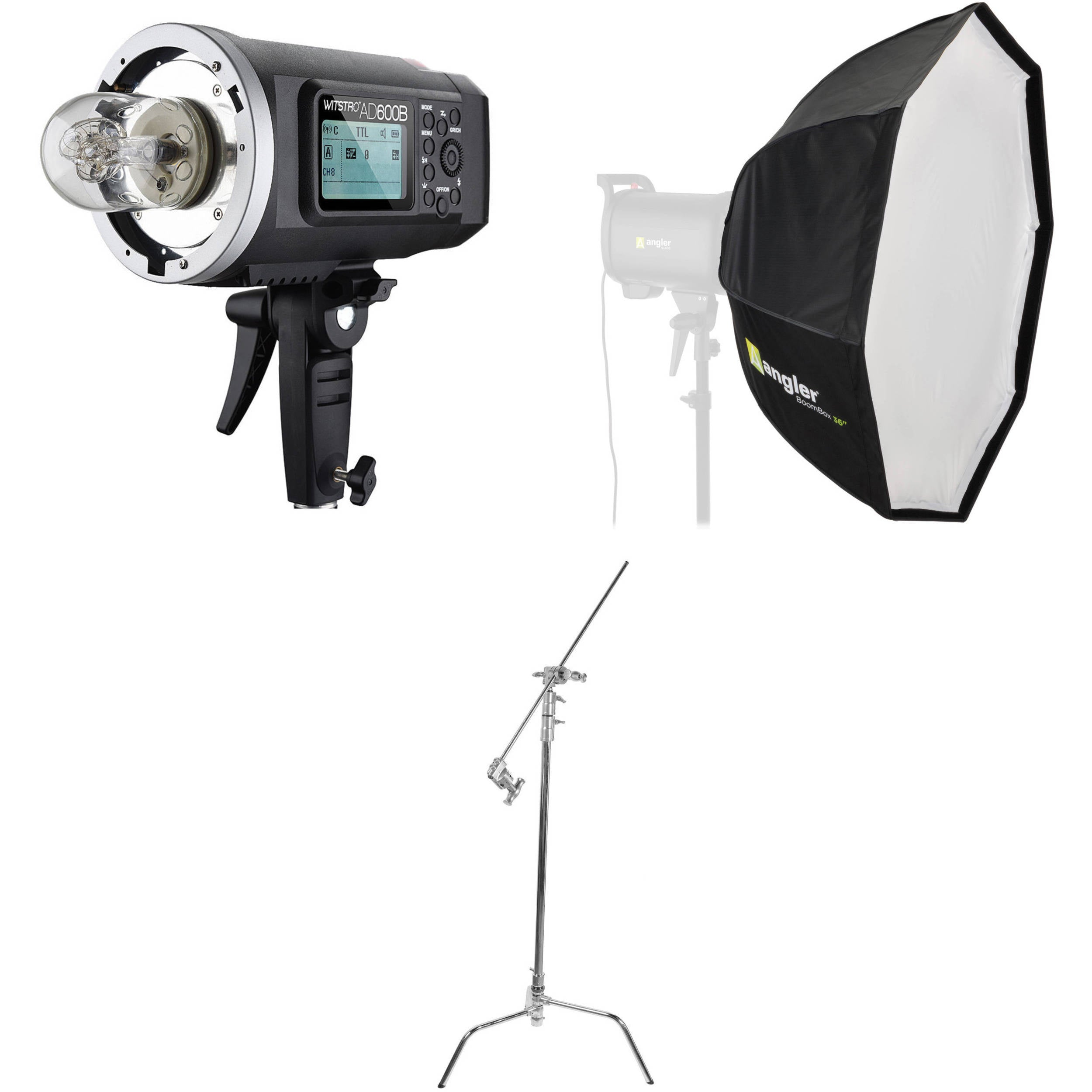 Godox AD600B Witstro Battery-Powered Monolight Kit with Softbox and C-Stand