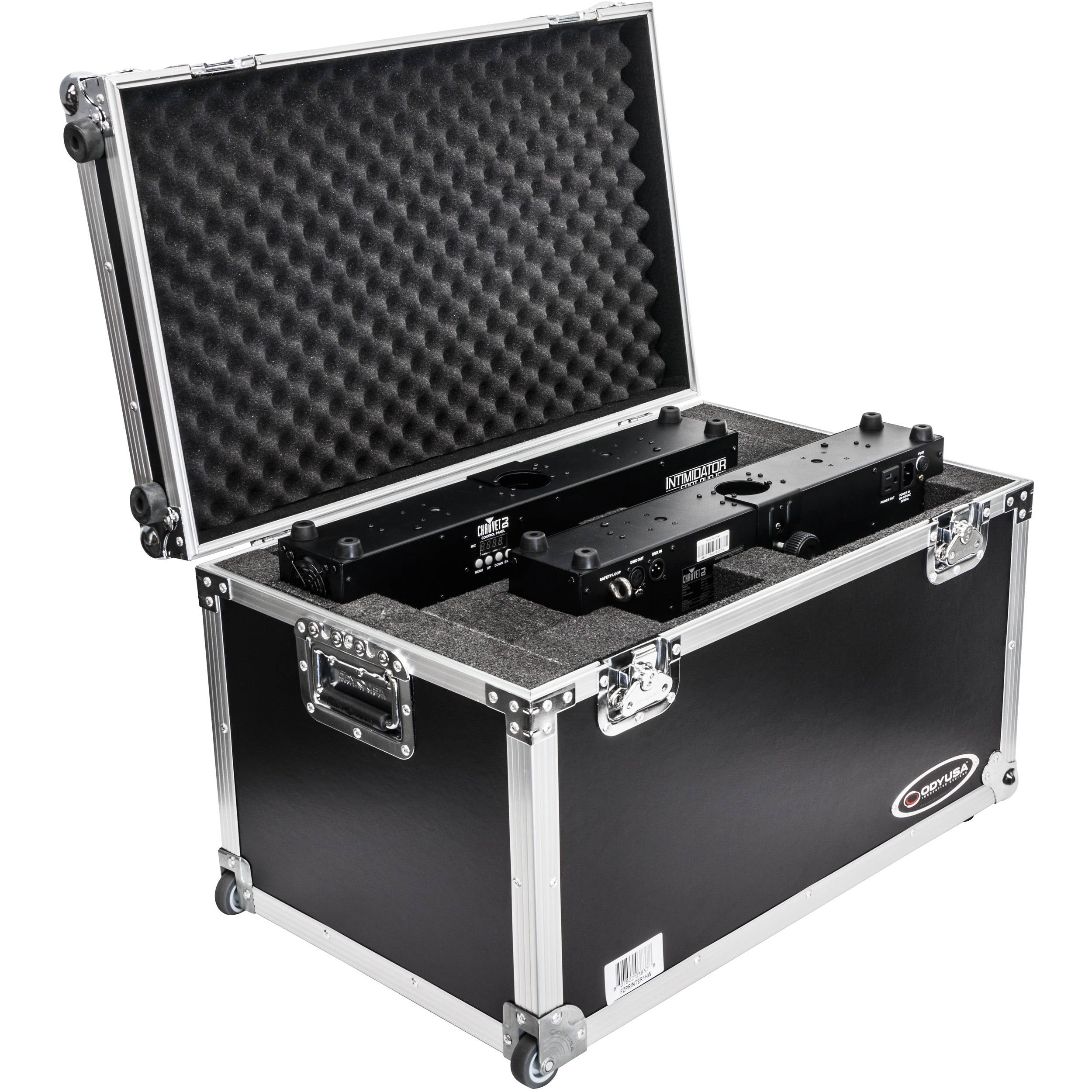 Odyssey Innovative Designs Dual Chauvet Intimidator Spot Duo 155 Case with Pullout Handle and Wheels