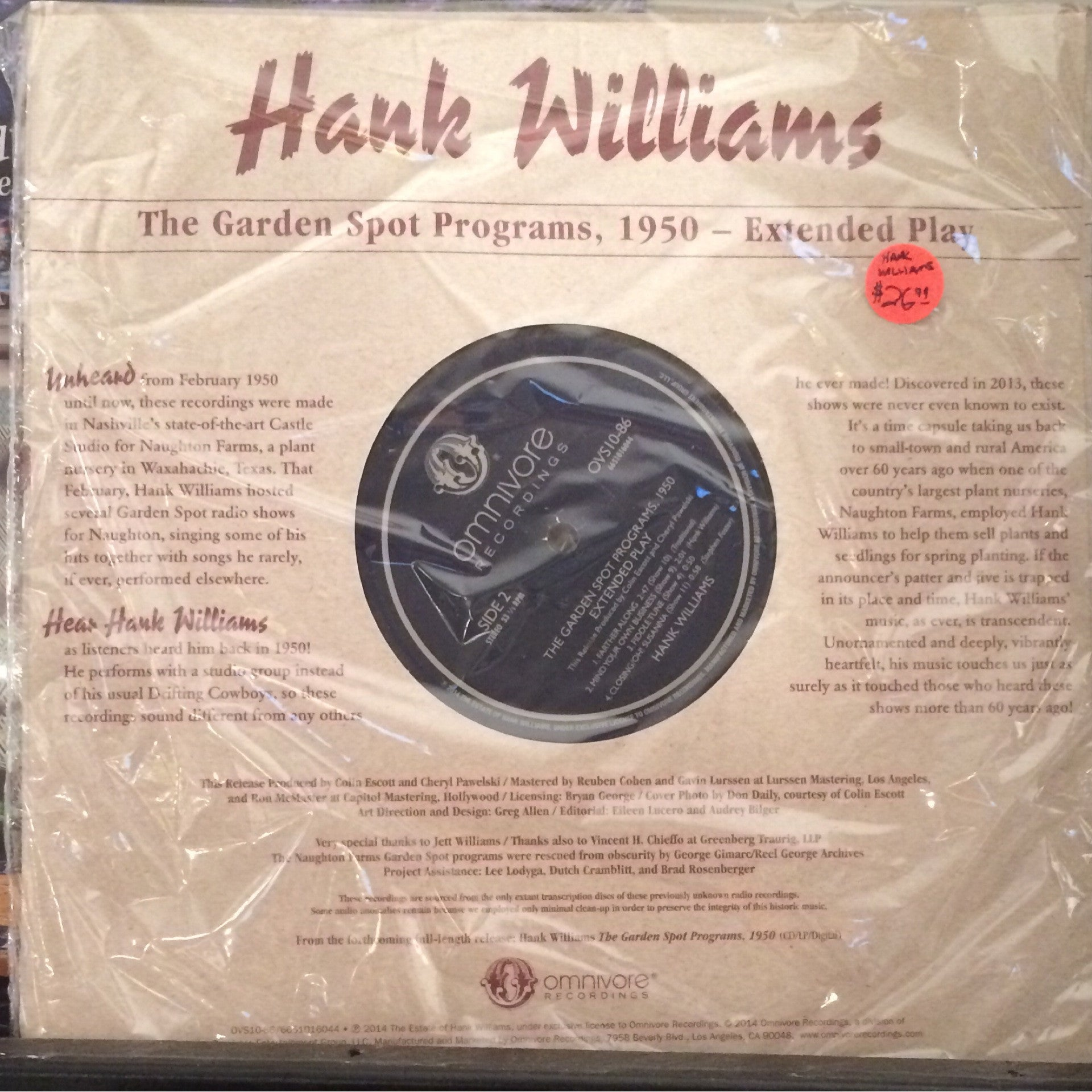 "Hank Williams - The Garden Spot Programs 1950 10"" EP - RSD 2014 New"