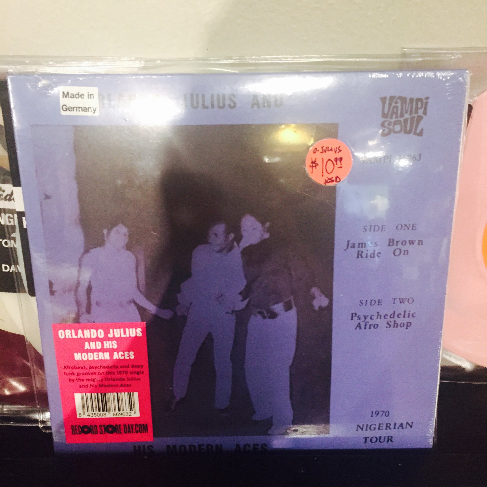 "Orlando Julius and His Modern Aces - James Brown Rides On 7"" (RSD 2015)"