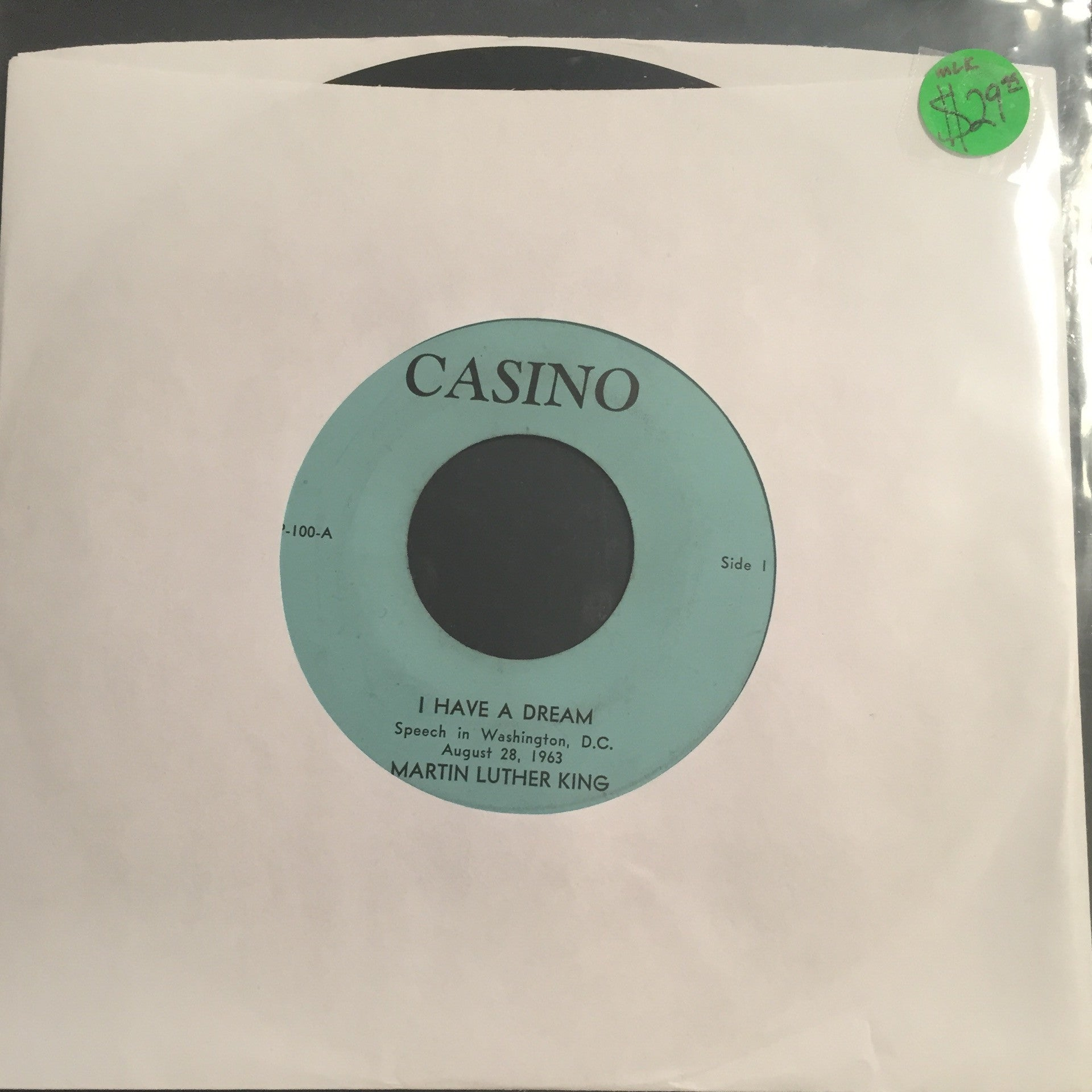"Martin Luther King - I Have A Dream 7"" - Casino Records - RARE!"