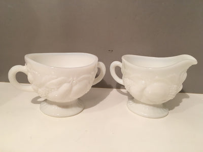 Milk Glass Sugar Creamer 1950s Set Cottage Chic Vintage