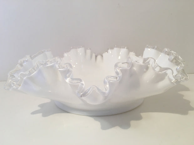 Fenton Vintage Milk Glass Silvercrest Basket Bowl