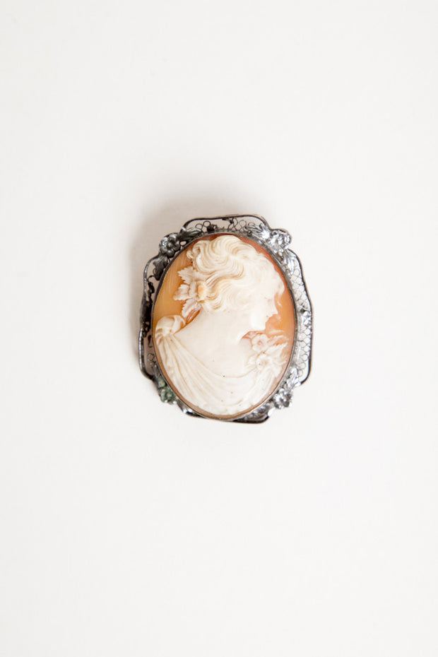 Antique Victorian Cameo Brooch, Silver Plate. Genuine 1890s