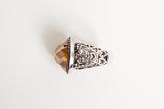 Vintage Sterling Silver Marcasite Ring w/ Large Amber Stone Heart Design