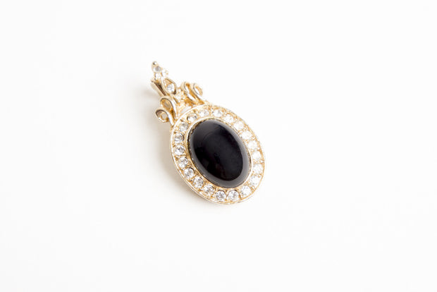Faux Black Onyx & Gold Diamond Pendant Vintage
