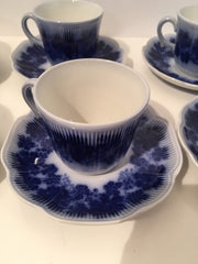 Espresso Cup & Saucer 6pc Set Flow Blue Upsala Ekeby Sweden Vinnanka Percy by Gefle 1940s Vintage