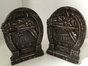 Syroco 1930s Vintage Bookends Hand painted Distressed Horse Fence Horseshoe