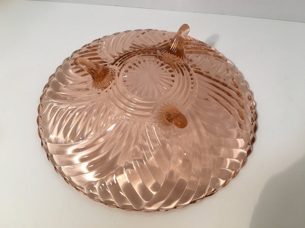 Pink Depression Glass 3 Footed Swirl Bowl/Dish by Anchor Hocking