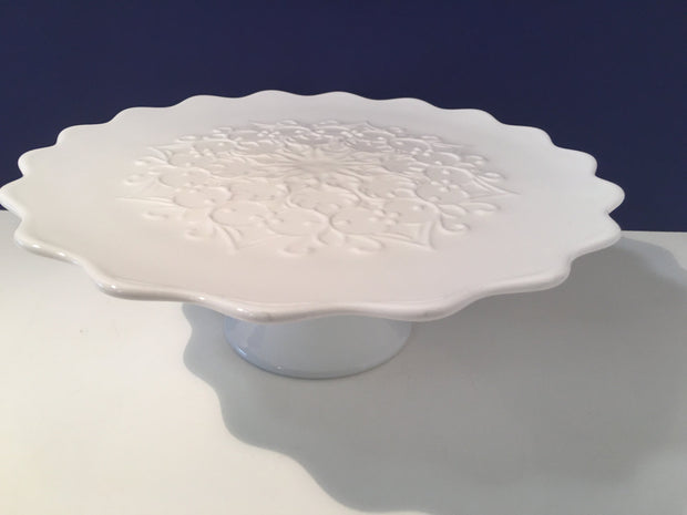 Fenton Spanish Lace  Scalloped Edge Pedestal Cake Stand/ Plate  White Milk Glass 1950s Item SPFN2611