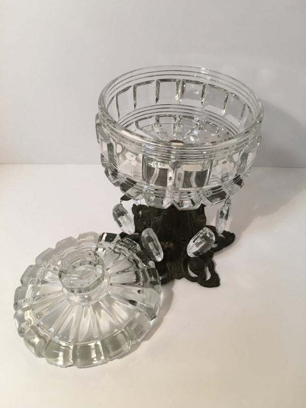 Vintage Crystal & Metal Centerpiece Candy Dish/ Table Deco Art Deco
