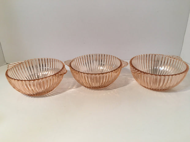 3pc Pink Depression glass Set of Small two Handles Lined Bowls