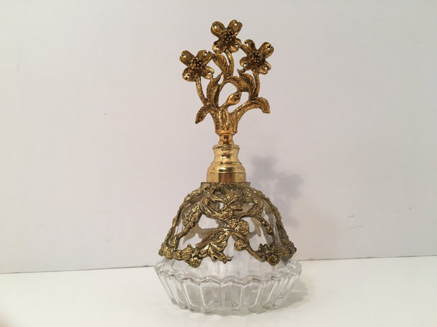 Vintage Ormolu High Quality Filigree/Brass Perfume Bottle
