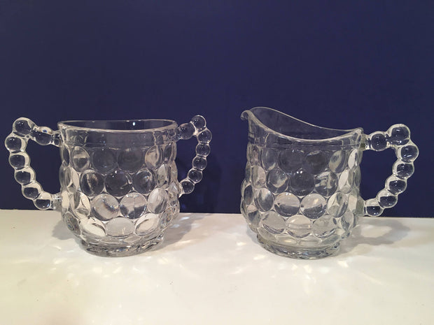 Vintage Large Bubble Glass with Handles Sugar Creamer Set
