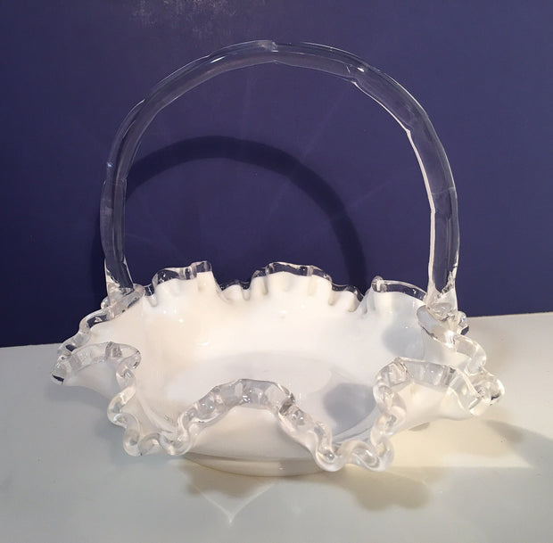 "Fenton SilverCrest Ruffled Edge Milk Glass 1950s Small 8"" Dia Wedding Basket Glass Bowl"