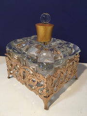 Vintage Filigree Gold Jewel Box & Perfume Bottle's 3Pc Set
