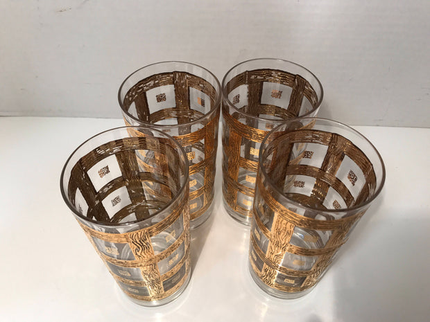 Vintage MidCentury Glasses Highball  Ice Tea 4 PC Set 1950s -60s 24Kt Gold Plated Culver Imperial Glass Sekai Ich