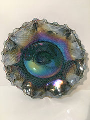Blue Iridescent Diamond Ruffled Dish/Bowl by Indiana Glass Vintage Collectable
