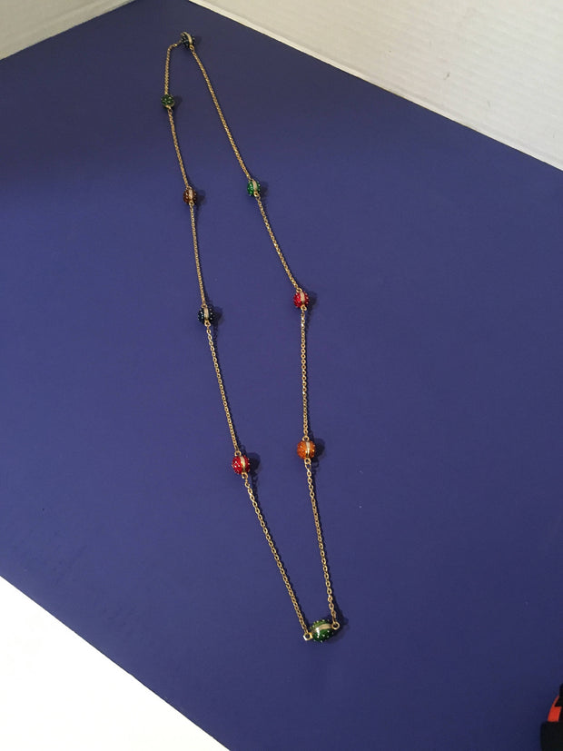 Enameled Beads Necklace Colored Raised Gold dotted Long Chain Fashion On Sale