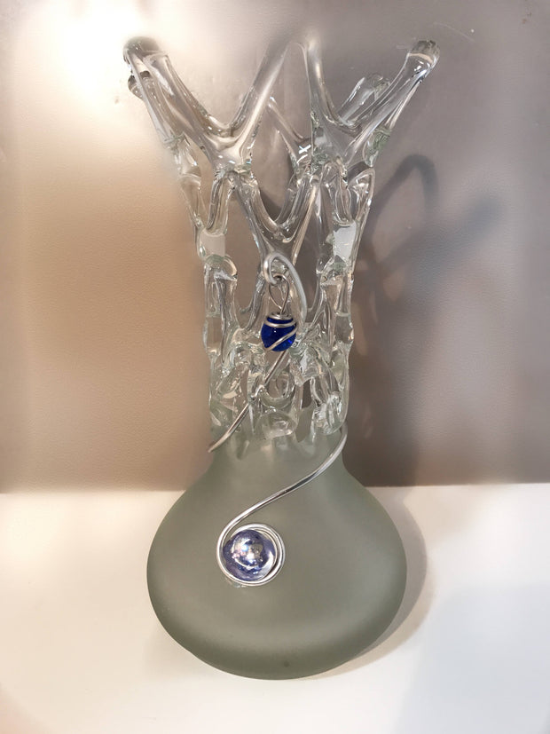 Romanian Frosted Glass Vase Sculpture Clear Ice Cut Out Embellished Metal Blue Glass Beads Sale Price