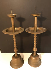 Antique Pair Brass Candlesticks Tall /Bell Shaped Base