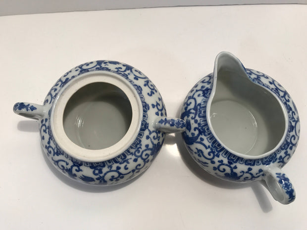 Noritake Blue & White Sugar Creamer SET Japan HOWO Blue Phoenix Early Morimuro Brothers
