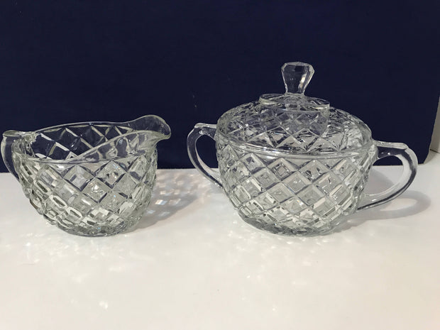Vintage Glass Diamond Pattern Sugar Creamer w/Glass Tray 3 pc Set