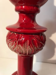 Mid century Pottery Red Table Candle Holders Set