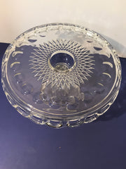 "Vintage Clear Cake Stand 10"" by Mckee Thumbprint has SYRUP Well in Center"