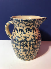 Antique Sponge Ware Blue and Cream Small Pitcher by  Robinson Ransbottom