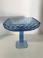 Vintage Ice Blue Pedestal Tall Square  Compote Bowl Table Decor 1960s Trellis pattern SALE