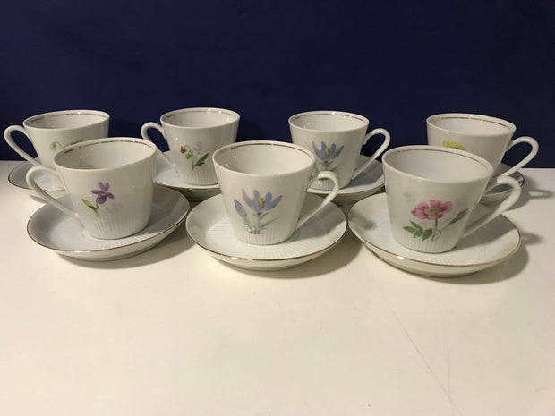 Espresso Cups & Saucers Flora by Scandinavian Vintage Hackefors 1960s 7pc Set